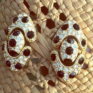 Swarovski linked pierced earrings